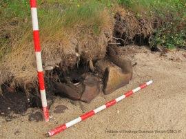 Dalles rubéfiées à l'île de Cortegada. Photographie: Institute of Heritage Sciences (Incipit-CSIC)