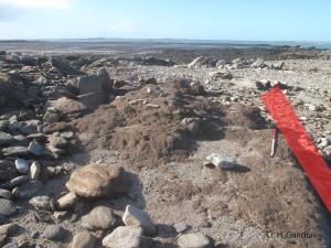 Tertre funéraire vu vers l'est avec restitution de l'alignement nord disparu après la tempête